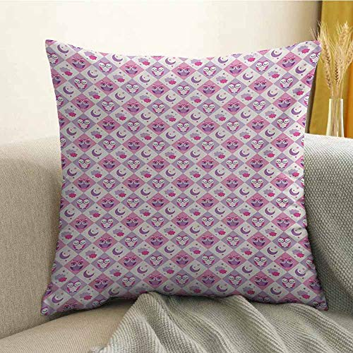 (Baby Printed Custom Pillowcase Rectangle Diamond Pattern with Funny Owls Sleeping Moons Stars and Clouds Abstract Decorative Sofa Hug Pillowcase W16 x L24 Inch Purple Pink)
