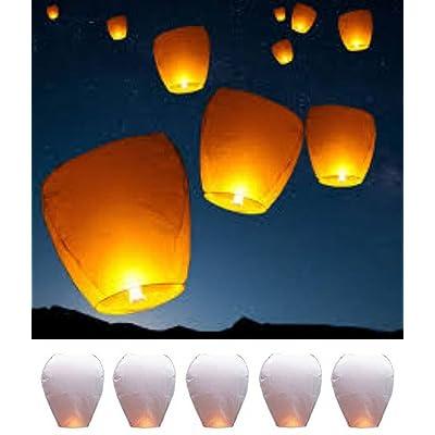 5 GRANDES LANTERNES DE CIEL CHINOIS Lanternes volantes chinoises Fly bougies pour Noël, réveillon du Nouvel An, Wish Party & Mariages Lanternes de ciel biodégradables. En volant Lampes à bougie