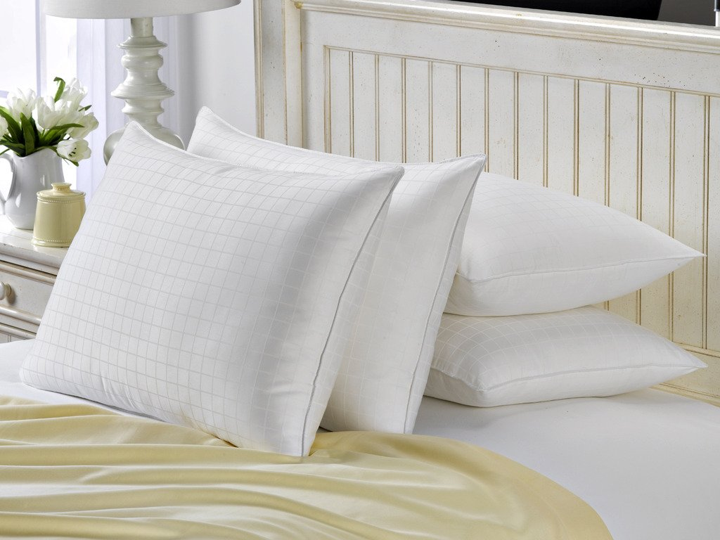SOFT French Country King Size Bed Pillows- 4 Pack White Hotel Pillows- Gel Fiber Filled SOFT Gel Pillows with Hypoallergenic 100% Cotton Dobby Box Cover- Best Pillow For Stomach Sleepers