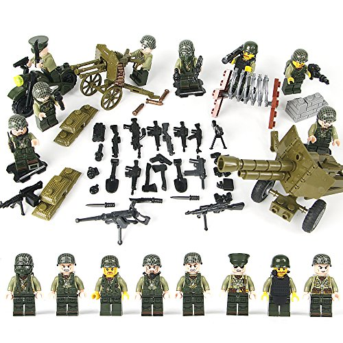 KAZI WW2 US Soldiers Minifigures Set, US Army Men with Military Weapons Accessories, Building Bricks Model 100% Compatible,8Pcs