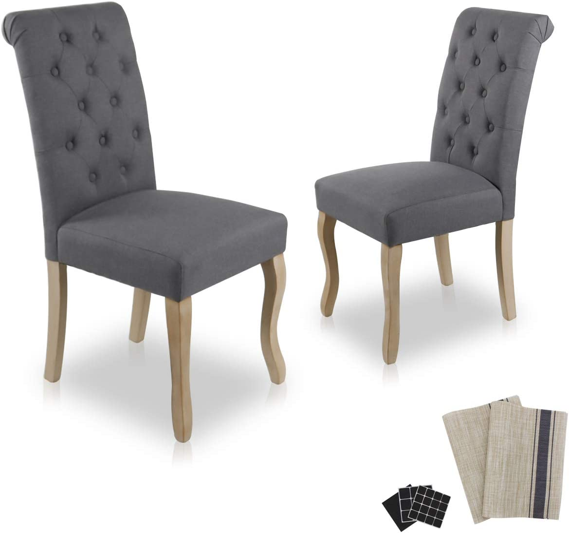 Dinner Chairs Upholstered Accent Fabric Dining Chair with Solid Wood Legs for Kitchen Living Room Set of 2 Grey