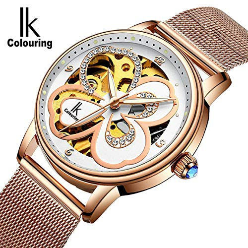 Lucky Clover Dress Watch for Ladies Diamond Rose-gold Auto Mechanical Wristwatch Milanese mesh strap Luminous