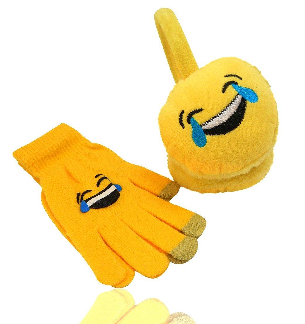 Emoji Fashion Unisex Emoticon Ear Warmers Plush Earmuff and Knit Gloves Sold in Sets Separately, USA COMPANY (Earmuff & Glove Set, COOL Smile-Sunglasses) (TEARS of Joy SET)