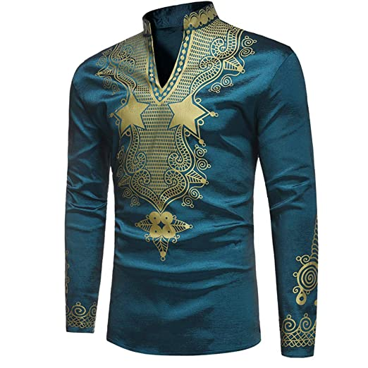 df312c5476e16e Toimothcn Men's African Style Print Long Sleeve 1/4 Zipper Dashiki Shirt Top  Blouse (