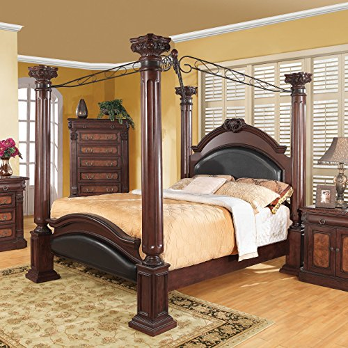 Coaster Home Furnishings Grand Prado Eastern King Poster Bed with Upholstered Panels Cappuccino and Black