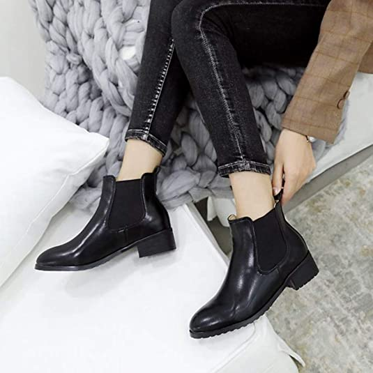 Amazon.com | T-JULY Winter Boots Ankle Boots Women Round Toe Thick Heel Slip on Shoes Botas Girls Botines | Boots