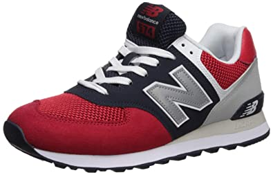 New Balance Herren Iconic 574 Sneaker, (Team Red/Pigment), 45.5 EU