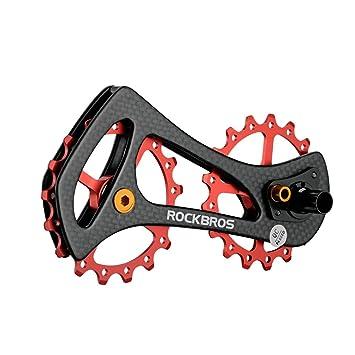 RockBros Bicicleta de fibra de carbono desviador trasero poleas ligero rueda Jockey para Shimano 6800 6870 9000 9070, rojo: Amazon.es: Deportes y aire libre