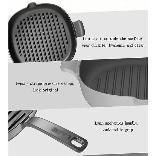 Recipientes para horno Filete de sartén Bandeja Plana de inducción Cocina de inducción Antiadherente Sin Humo 10 Pulgadas de diámetro Cuadrado Hierro de ...
