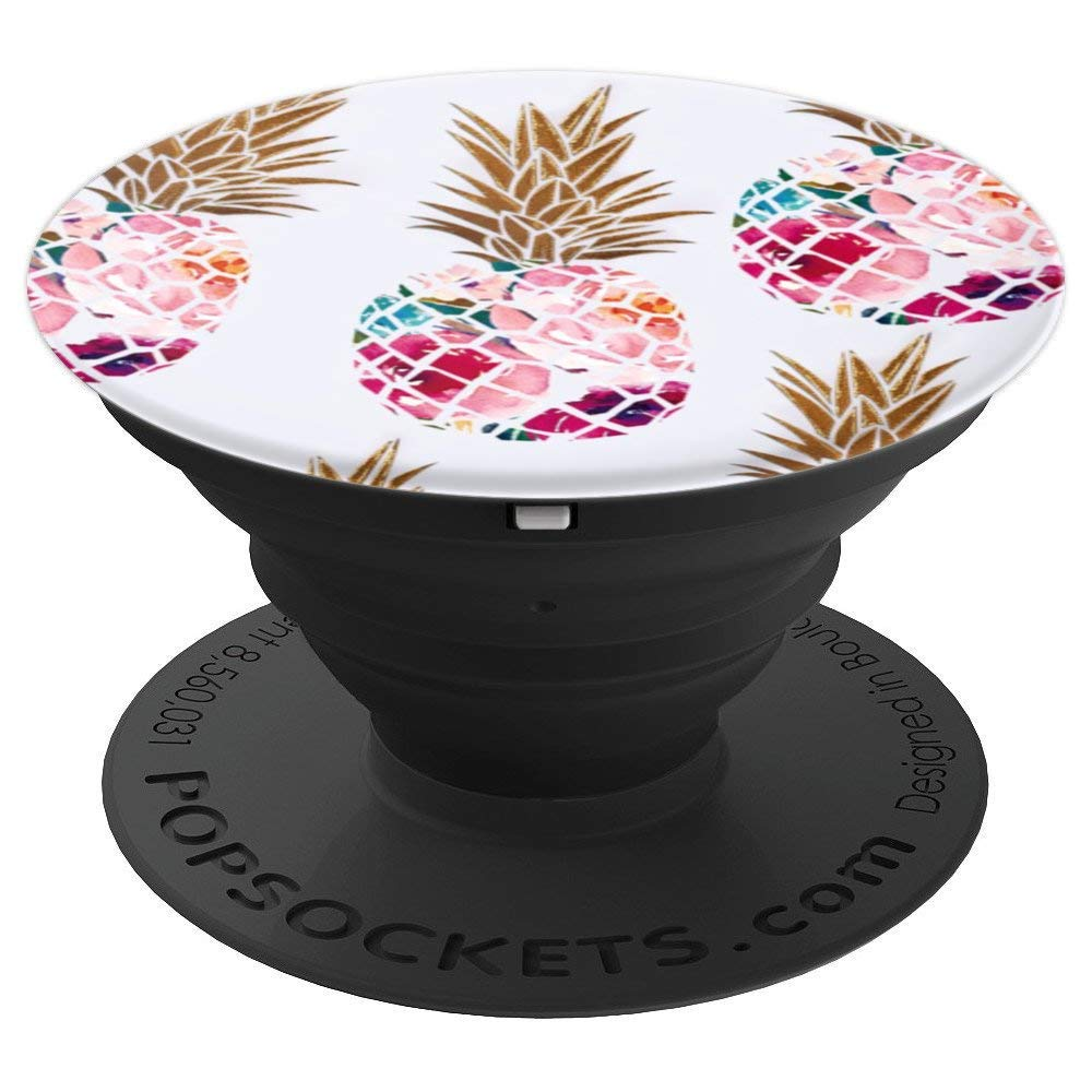 Floral Pineapple Pattern Phone Popper - PopSockets Grip and Stand for Phones and Tablets by Torendi Phone Popper Grip