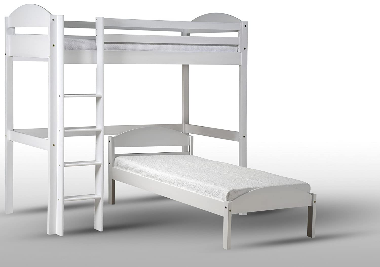 Hochbett L Form : Design vicenza maximus l form hochbett holz weiß single bestellen