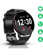 SmartWatch, IP68 Waterproof with 1.3 Inch Full Touch Screen BluetoothSmartwatch, Fitness &Activity Tracker, Heart Rate Monitor, Sleep Monitor, Pedometer Call Notification for Android & iOS (Black)