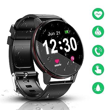 Smartwatch, IP68 a Prueba de Agua con Reloj Inteligente con Bluetooth de Pantalla táctil de, Monitor de frecuencia cardíaca, Monitor de sueño, ...