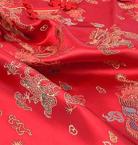 50 Con Vestido Qipao Mangas De Dragón Chino Tamaño Noche Larga A Cóctel Rojo 38 Cortas Motivo q8g6Twpnq