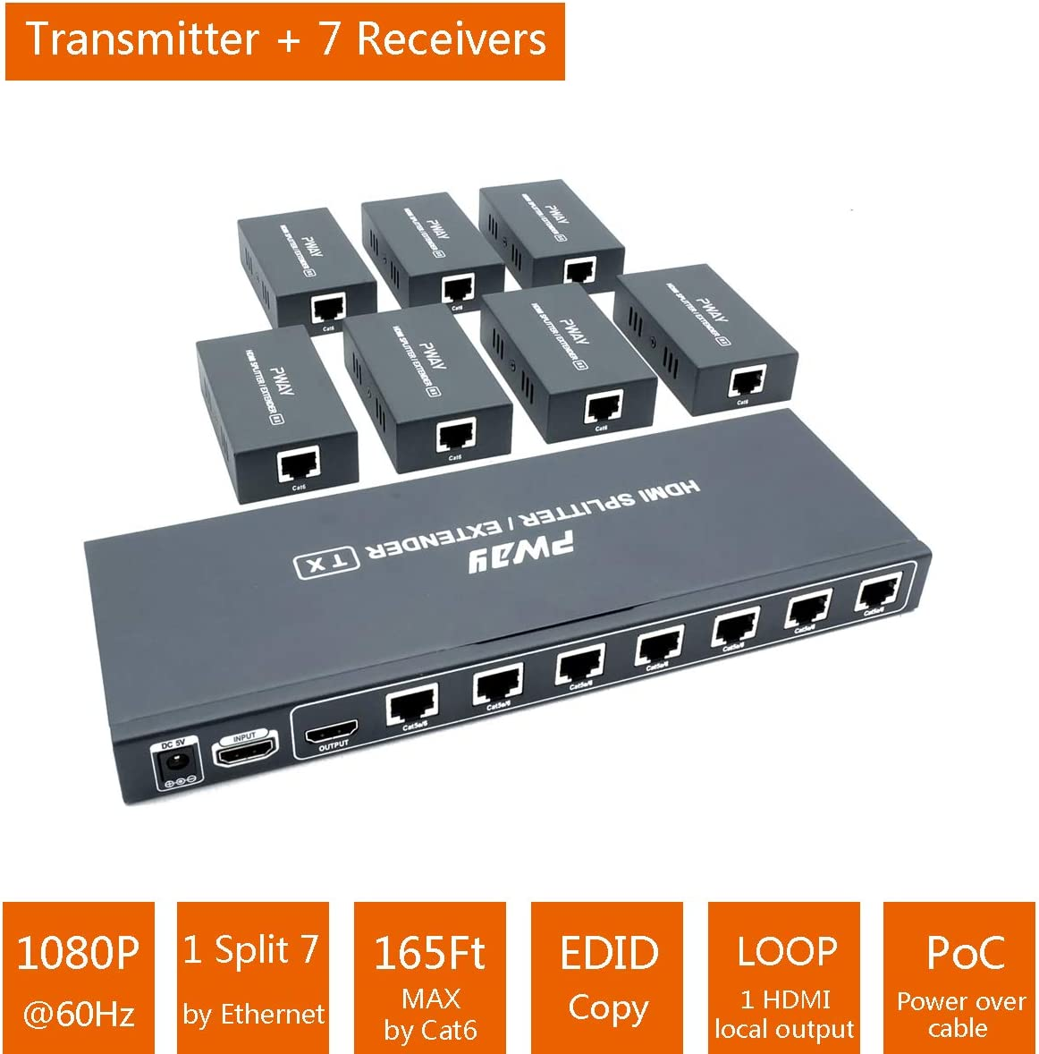 Cat7 with 1 HDMI Loopout 1080P@60Hz AV Signals Lossless Transmission Over Ethernet Cat5e 165Ft HDMI Extender Splitter 1x2 Port Up to 50M Cat6