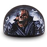 Daytona Helmets Motorcycle Half Helmet Skull Cap- Graphics 100% DOT Approved