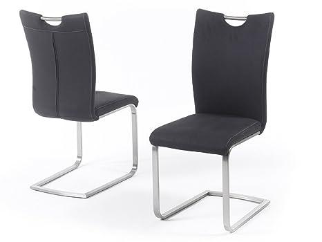 2er Esszimmerstühle  Set Freischwinger Schwingstuhl Stuhl Kunstleder Weiß stühle