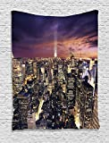 Ambesonne NYC Decor Collection, Manhattan Offices High Tall Tower Traffic Busy Urban Life Windows Lights District View, Bedroom Living Room Dorm Wall Hanging Tapestry, Purple Black Yellow