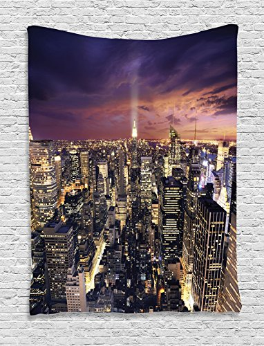 Nyc Street Scene (Ambesonne NYC Decor Collection, Manhattan Offices High Tall Tower Traffic Busy Urban Life Windows Lights District View, Bedroom Living Room Dorm Wall Hanging Tapestry, Purple Black Yellow)