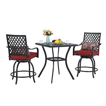 Excellent Phi Villa Patio Height Bar 3 Piece Set Bistro Outdoor Garden Backyard Stools Set Swivel 2 Patio Chairs And 1 Metal Top Square Table Seat Cushions Andrewgaddart Wooden Chair Designs For Living Room Andrewgaddartcom