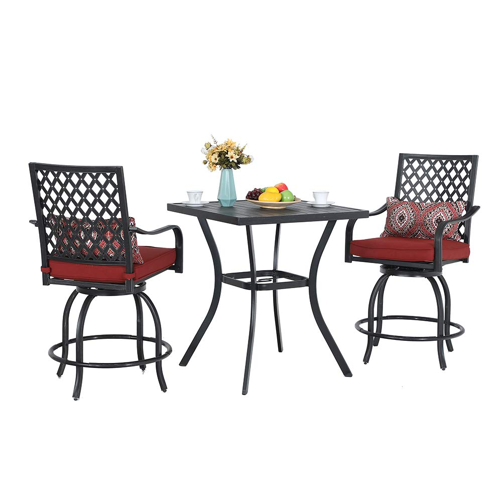 PHI VILLA Patio Height Bar 100 Piece Set Bistro Outdoor Garden Backyard  Stools Set, Swivel 100 Patio Chairs and 10 Metal Top Square Table, Seat  Cushions