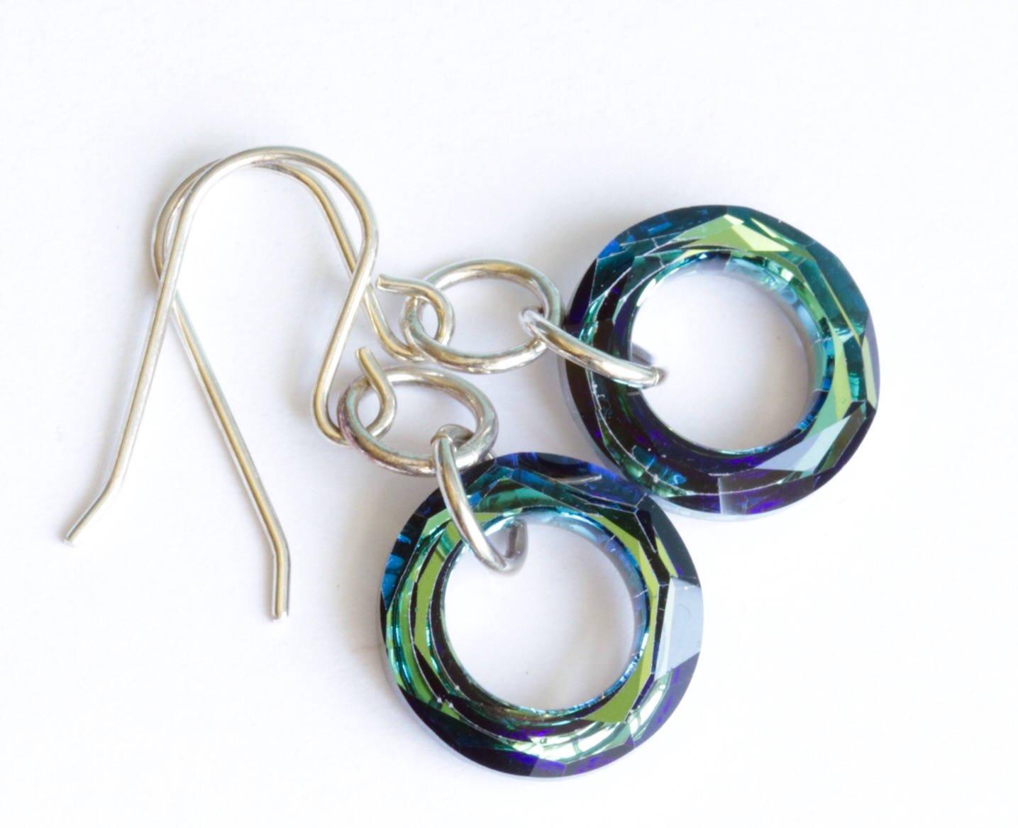 Blue Crystal Sterling Silver Dangle Earrings