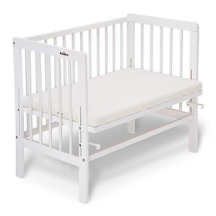 FabiMax cuna lacada blanca accostare BASIC colchón. con materasso CLASSIC