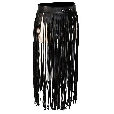 MagiDeal 1x Jupe Boho Style Fringe En Cuir Synthetique Mode Vetements Femme e0132569d66