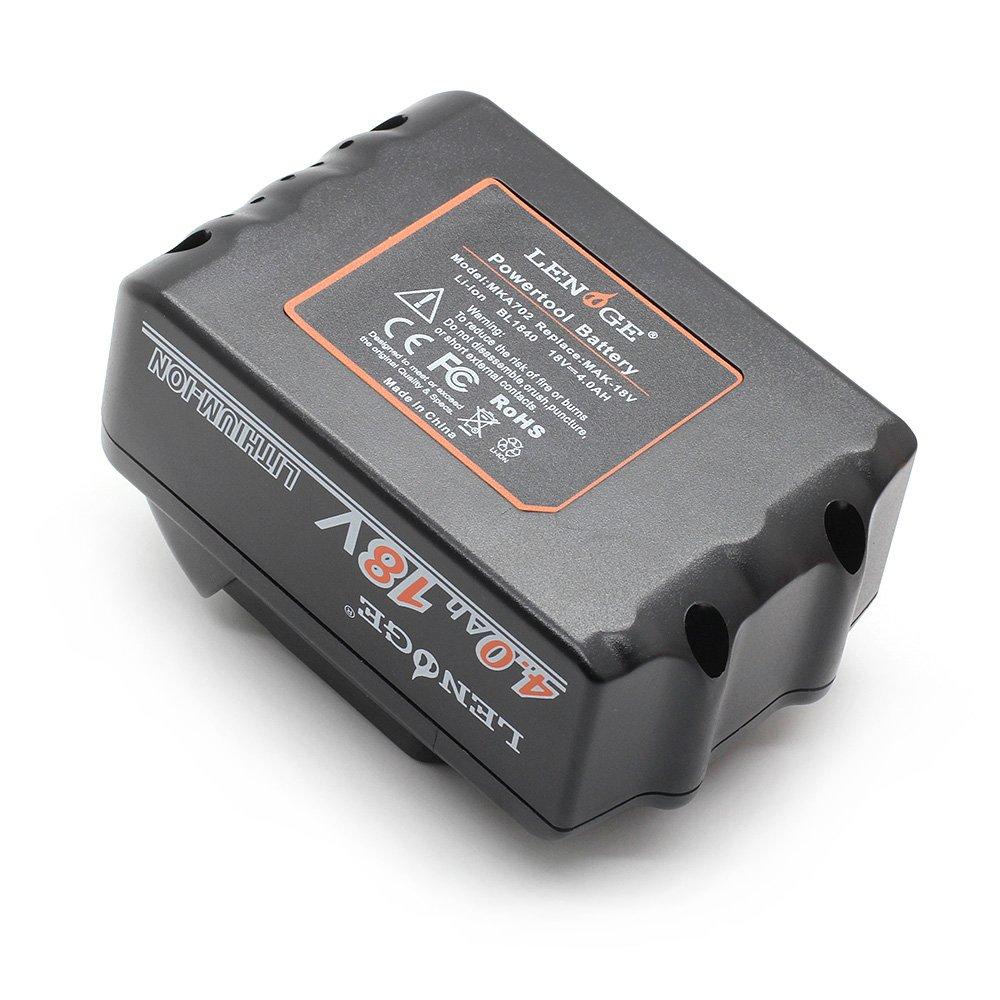 celle di grado A 18V 4.0Ah Litio Batteria di Ricambio per Makita BL1840 BL1860 BL1830 BL1850 BL1815 BL1835 BL1845 194205-3 194309-1 196399-0 LXT-400 Avvitatori LENOGE 4 PEZZI