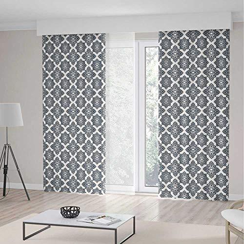 iPrint Geometric Room Decor Curtains,Oval Shapes Stripes Star Concept Floral Pattern Symmetrical Foliage Arrangement Decorative,Living Room Bedroom Window Drapes 2 Panel Set,104 W 84 L,Indigo (Beaded Oval Privacy Set)