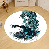 Gzhihine Custom round floor mat Skulls Decorations Vintage Sugar Skull Girl Day Of The Dead Bride With Dark Color Roses Graphic Art Bedroom Living Room Dorm Decor Peacock White