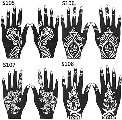 2 Pcs Henna Stencil Temporary Hand Tattoo Body Arts Sticker Template Tools size 103 Sanwood Hand Tattoo Stickers