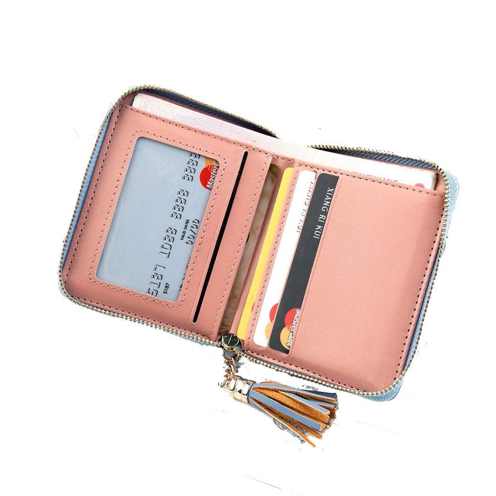 GzxtLTX RFID Blocking Leather Wallet for Women,Excellent Women's Genuine Leather Credit Card Holder (Red)
