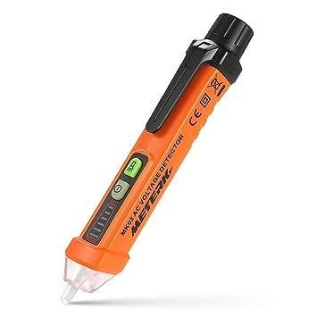 Détecteur de Tension Sans Contact, Meterk 12V-1000V NCV Test de Fil de  Phase Lampe de Poche LED Alarme Sonore Lumière d'Avertissement (Orange)