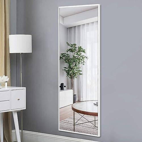 PexFix Full Length Hanging Mirror 55 x16 , Dressing Mirror Rectangle Aluminum Alloy Frame Floor Mirror Leaner Mirror for Bedroom Bathroom Living Room, Matte White