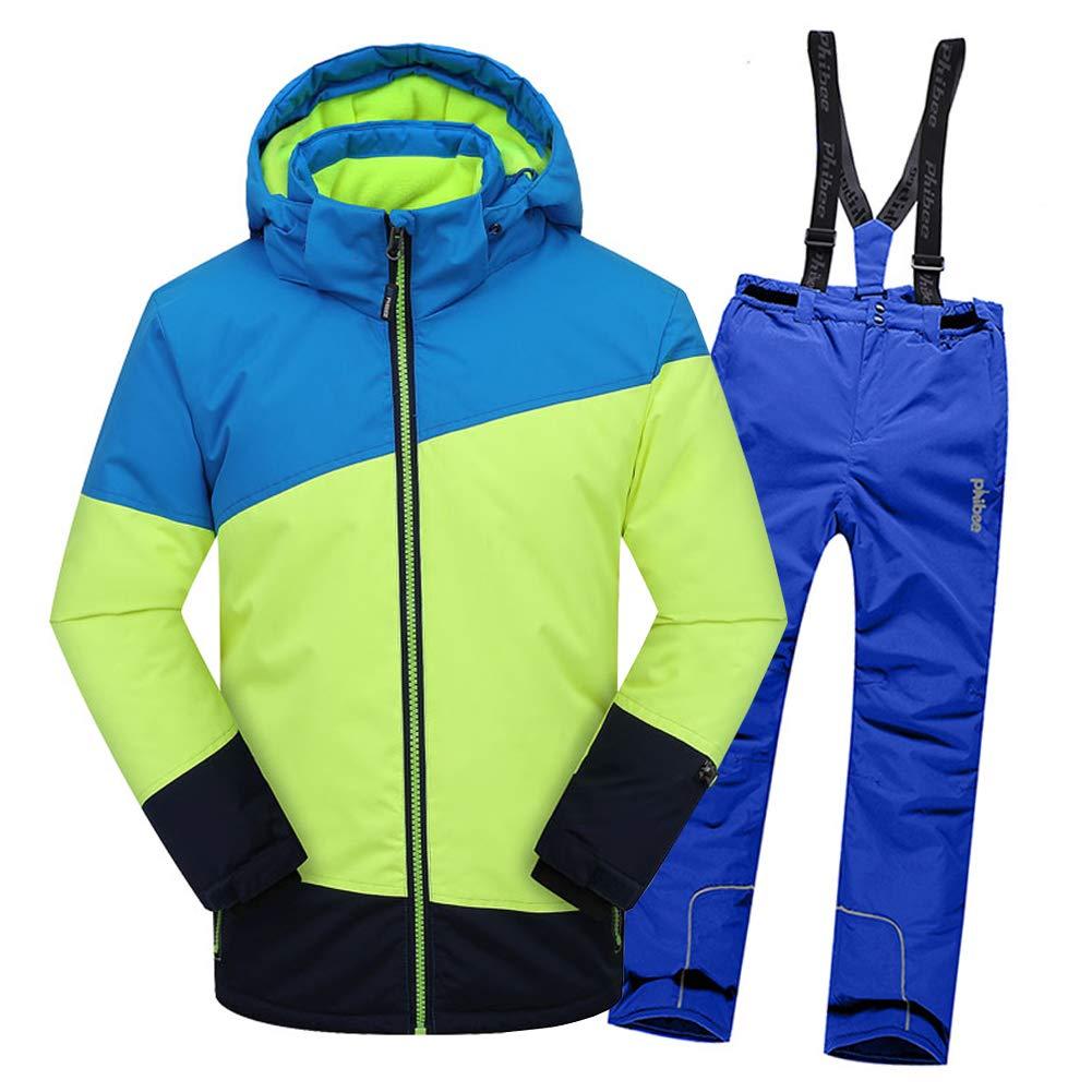 Top+pantalon Bleu 2-3 ans  hauteur recomhommedée 95-105cm LPATTERN Enfant Garçon Fille Ensemble de Ski Coupe-Vent Combinaison Unisexe de Ski Imperméable Chaud épais 2PCS 3-13ans