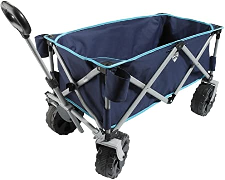 Ligh Blue Sekey Foldable Cart Folding Wagon Outdoor Wheelbarrow Beach Cart All Terrain Utility Wagon Outdoor Garden Trailer Transport Trolley