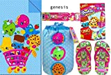 Shopkins Sleeping Slumber Party Bag For Kids 30in X 54in Shopkins Little Girl's Wedge Flip Flop Sandals, Shopkins Uno Foil Bag Card Game & Electric Toothbrush