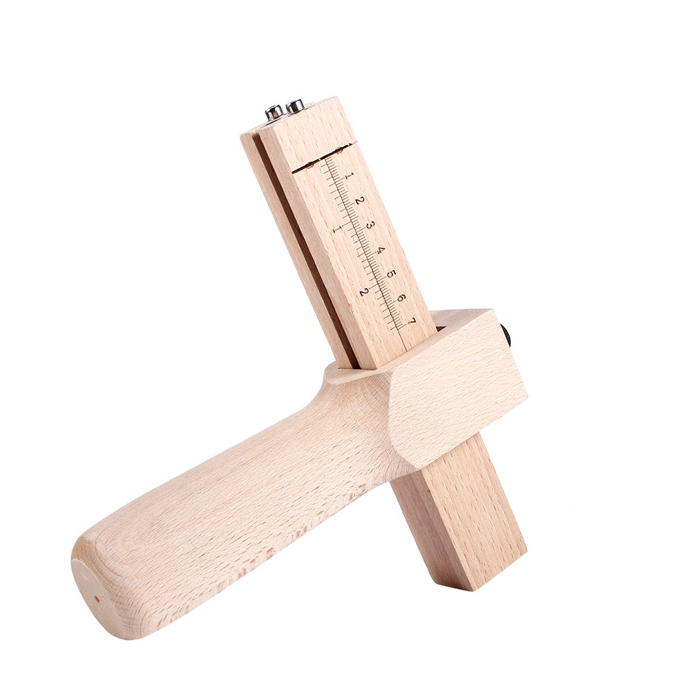 Adjustable Leather Hand Cutting Tool Professional Wooden Leather Cutter DIY Hand Cutting Craft Tool with 5 Blades Zerodis