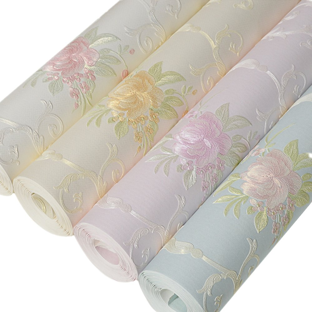 Non-Woven Temporary Self Adhesive Removable Wallpaper Luxury Embossed Floral Mural Wallpaper Stick and Peel Roll 20.83 Inches by 9.8 Feet by Glow4u (Image #5)