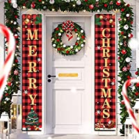 Christmas Decorations Merry Christmas Banner Decor Porch Sign, Christmas Porch Banner Happy New Year Plaid Signs for…