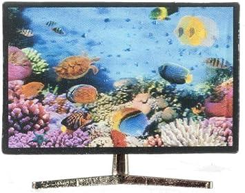 Amazon.es: Melody Jane Casa de Muñecas Smart TV Televisión con 3D Pez Imagen 1:12 Salón Accesorio: Juguetes y juegos