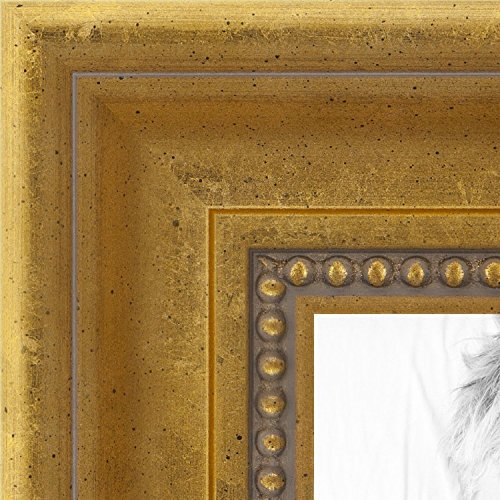 (ArtToFrames 5x7 inch Antique Gold with Beaded Detailing Wood Picture Frame,)