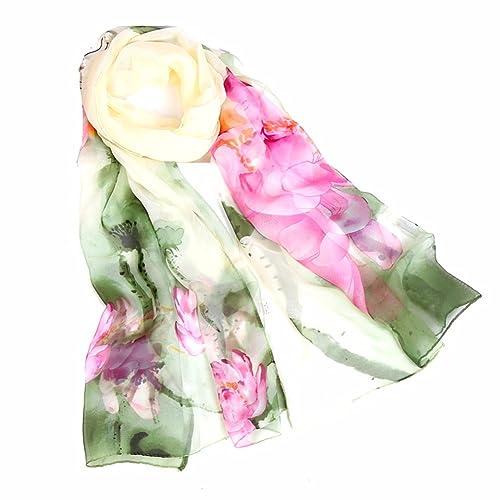 yall Dama Elegante Bufanda Jo Qi Hilados Bufanda Impresa Peony, Verde 160X50 Cm