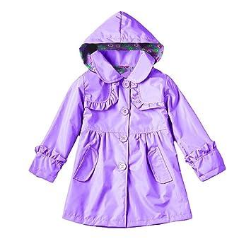 ... morada chica Impermeable chica verde Ropa infantil Impermeable con lluvia del viento Impermeable Chaqueta de abrigo impermeable: Amazon.es: Hogar