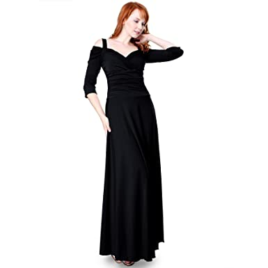 62ed6dbac79d EVANESE Women's Elegant Slip On Long Formal Evening Dress with 3/4 Sleeves  XS,