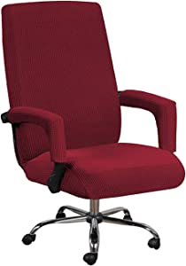 GAEA.TEX Office Chair Cover Computer Chair Boss Swivel Chair Slipcover Durable Stretch Soft Protector with Arm Covers (Medium, Wine Red)