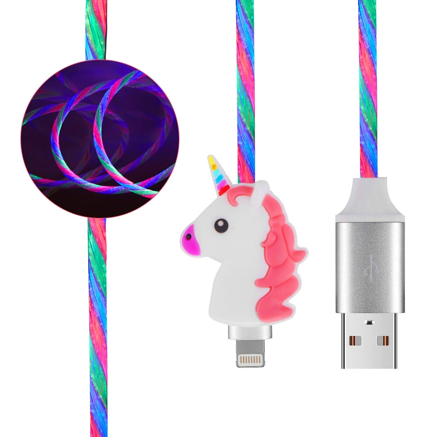 Mulafnxal Unicorn Cable for iPhone Xs Max/X/XR / 8/7 /6 /6S Plus /5 SE,Cute Animal Cartoon 3D LED Charging Cable for iPad 2/3/4/Mini/Air/Pro Funny Kawaii Fast USB Luminous Cord for Kids Girls(iOS)