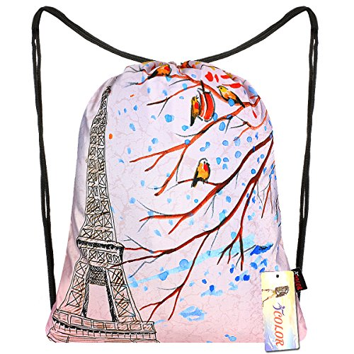 iColor Sport Sackpack,Drawstring Backpack,Stylish Multipurpose Girls Nylon Gym Bags,Teen Yoga Dance Bag,Lightweight Gym Bag for Women Cycling Hiking,Gymsack Travel Daypack 18