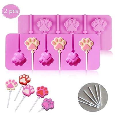 ZXL@ED Conjunto de 2 Piezas Silicona con Estampado de Pata de 6 Agujeros Molde de Piruleta 12 Piezas de Palos Adecuado para Decoración de Glaseado de Chocolate Y Magdalenas: Bricolaje y herramientas